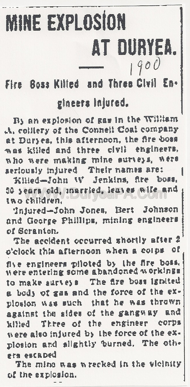 Pa Duryea Jenkins John W Fire Boss Killed At Connell Mine on House Family 1900