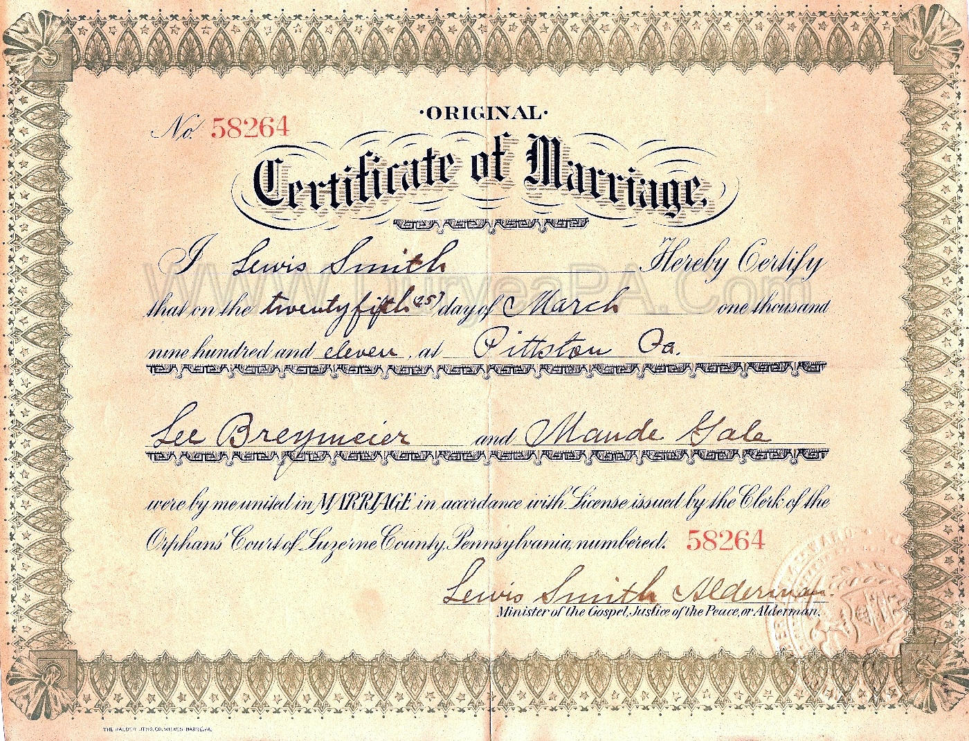 Pennsylvania Marriage License Az Public Record