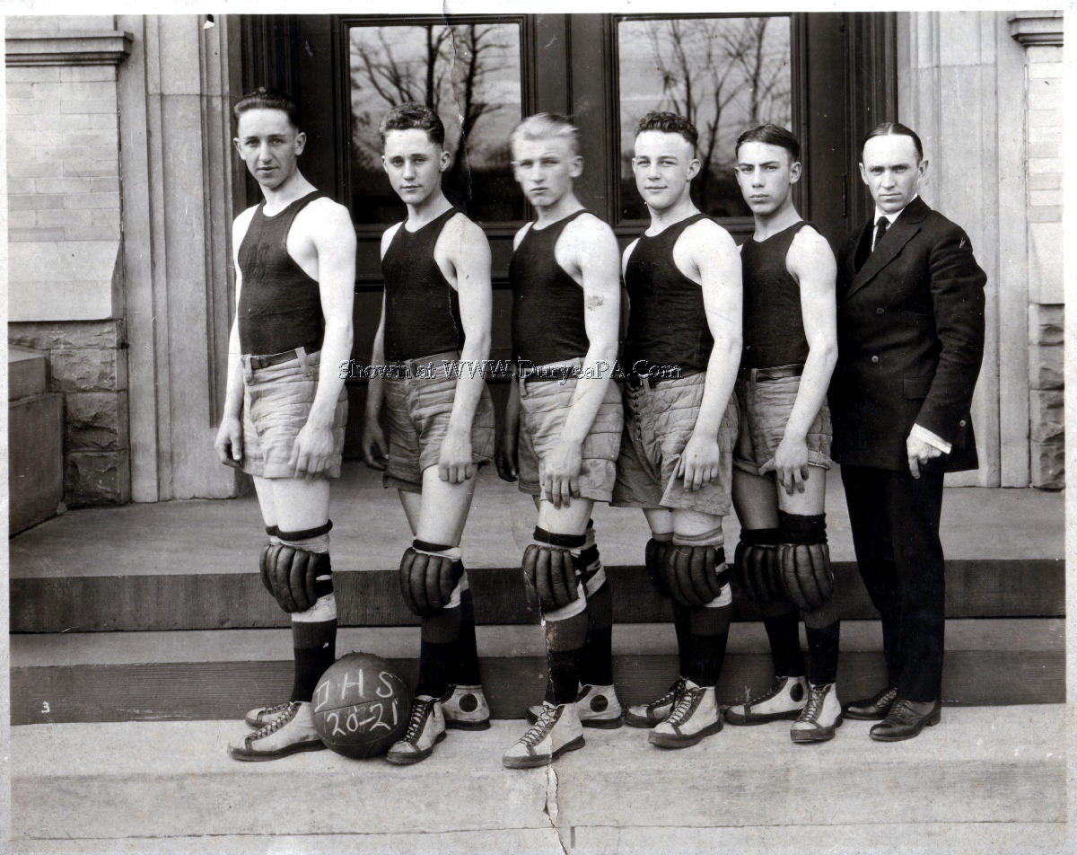PA Duryea 1920 1921 Basketball Team Donley Harold on Right