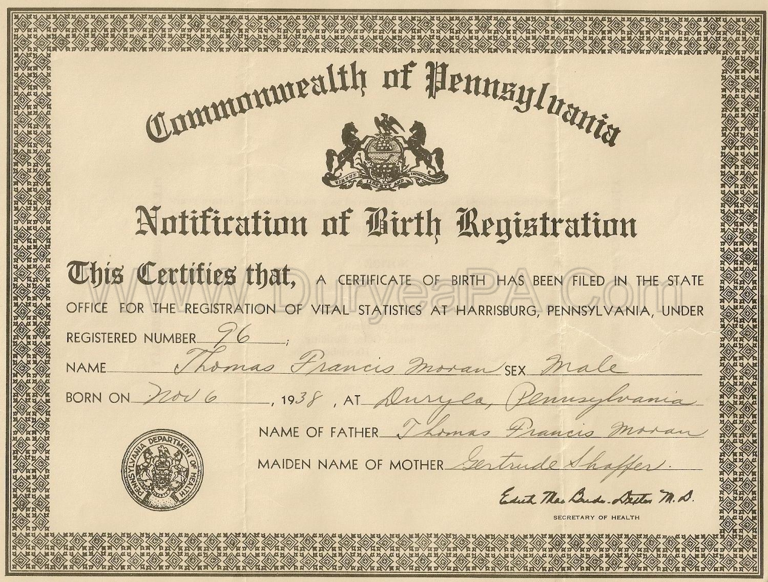 Pa Birth Certificate Form Peopledavidjoel