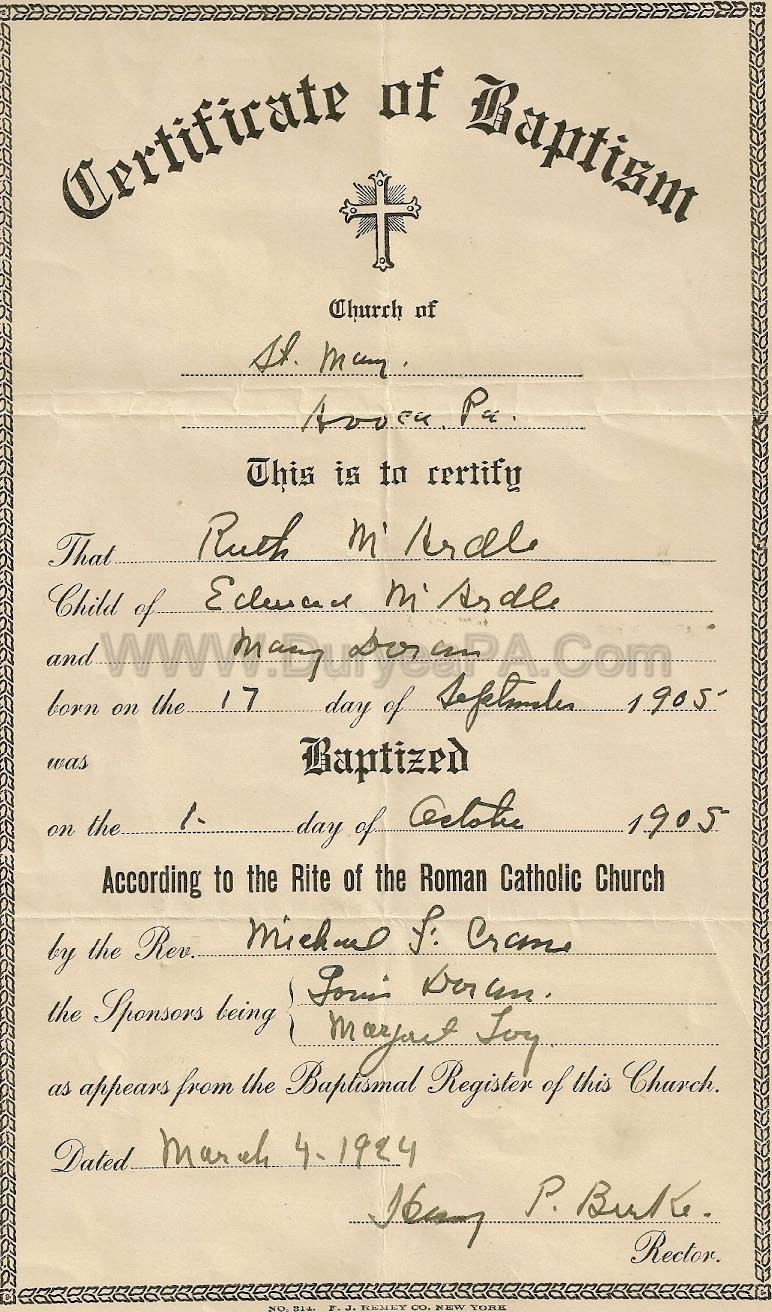 Duryea pennsylvania historical homepage pa duryea 1905 mcardle ruth birth certificate aiddatafo Images
