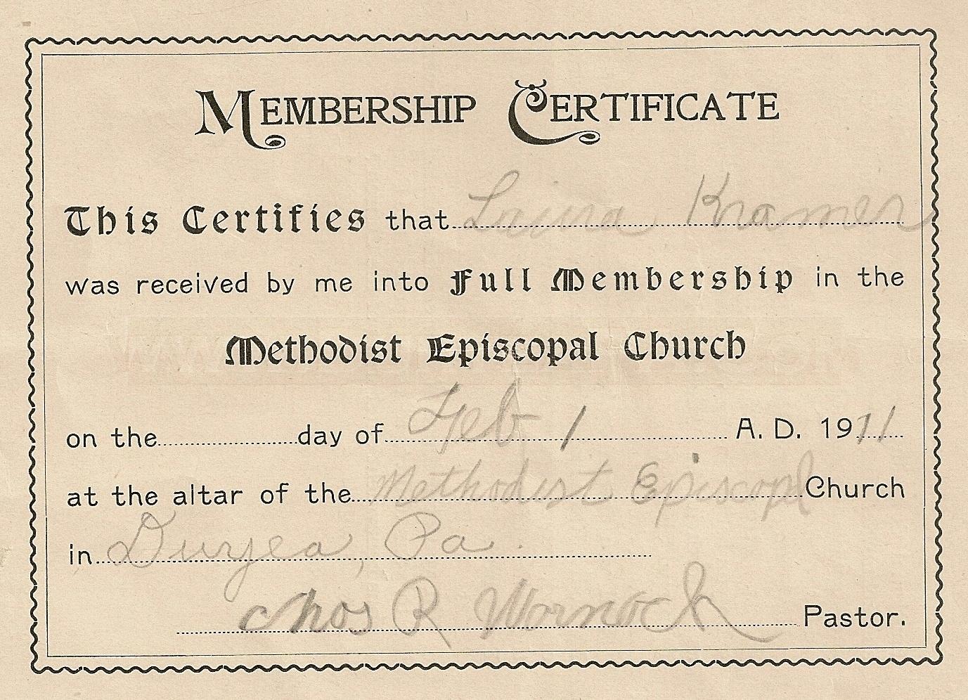 Duryea pennsylvania historical homepage pa duryea 1911 kramer florence church membership certificate aiddatafo Choice Image