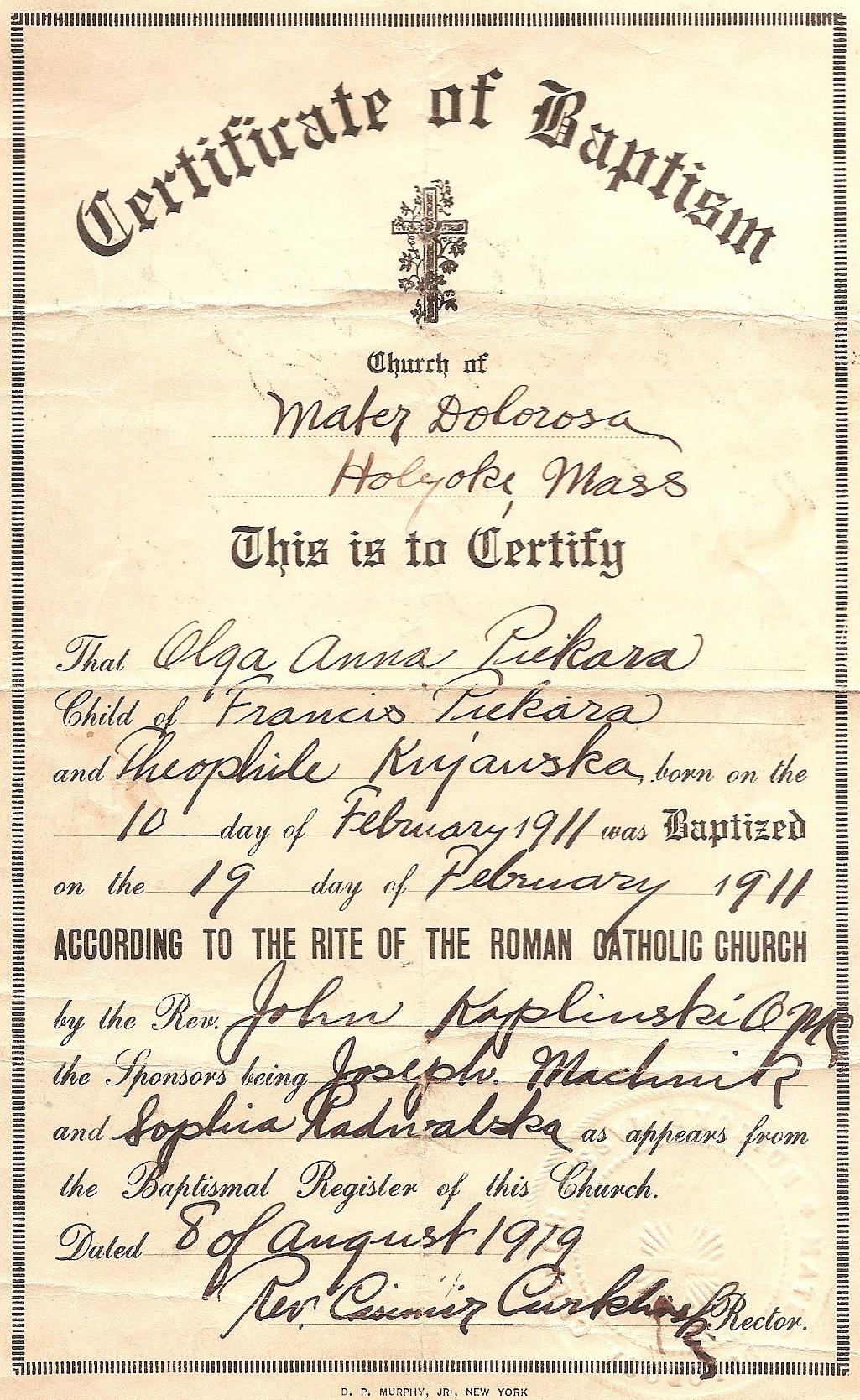 Duryea pennsylvania historical homepage pa duryea 1911 piekara olga anna birth certificate aiddatafo Gallery