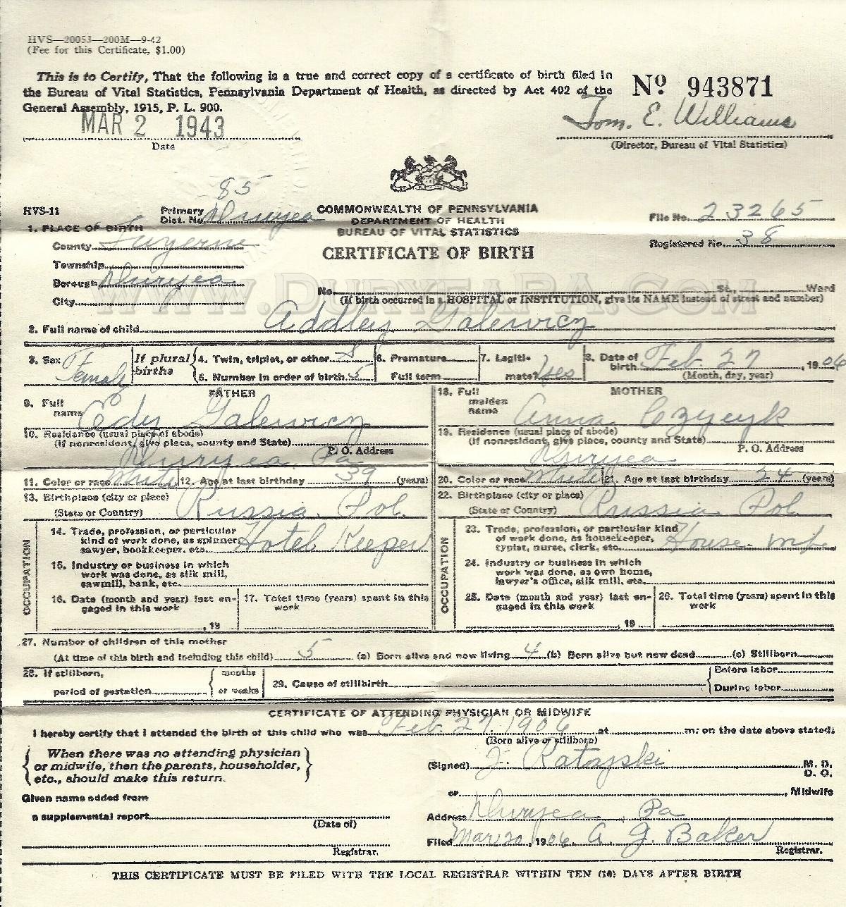 Duryea pennsylvania historical homepage pa duryea 1906 galewicz della birth certificate aiddatafo Image collections