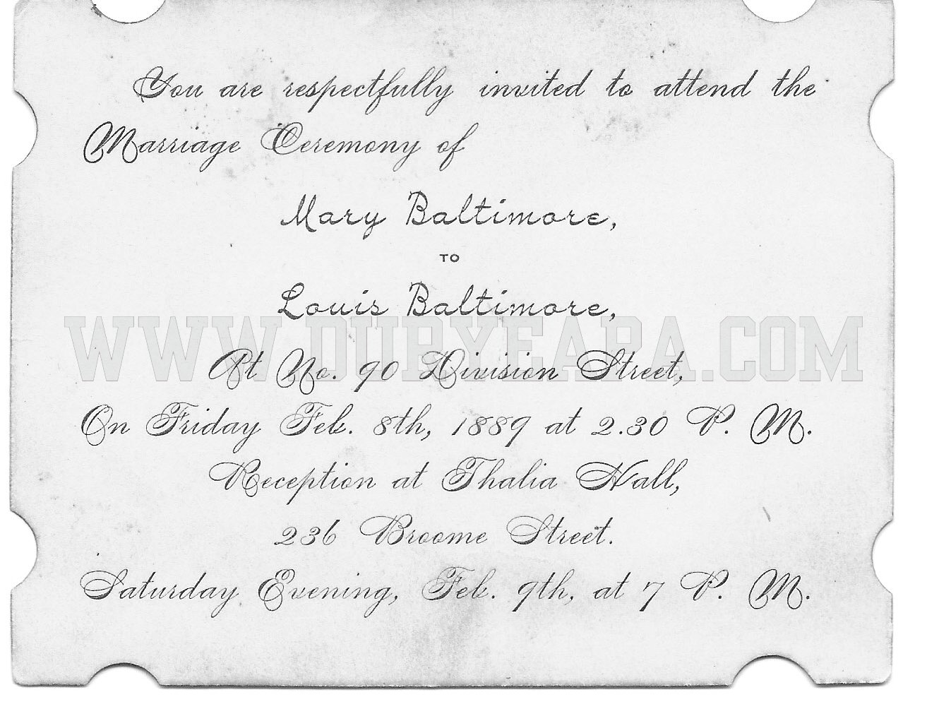 PA Duryea 1889 Baltimore Wedding Invitation