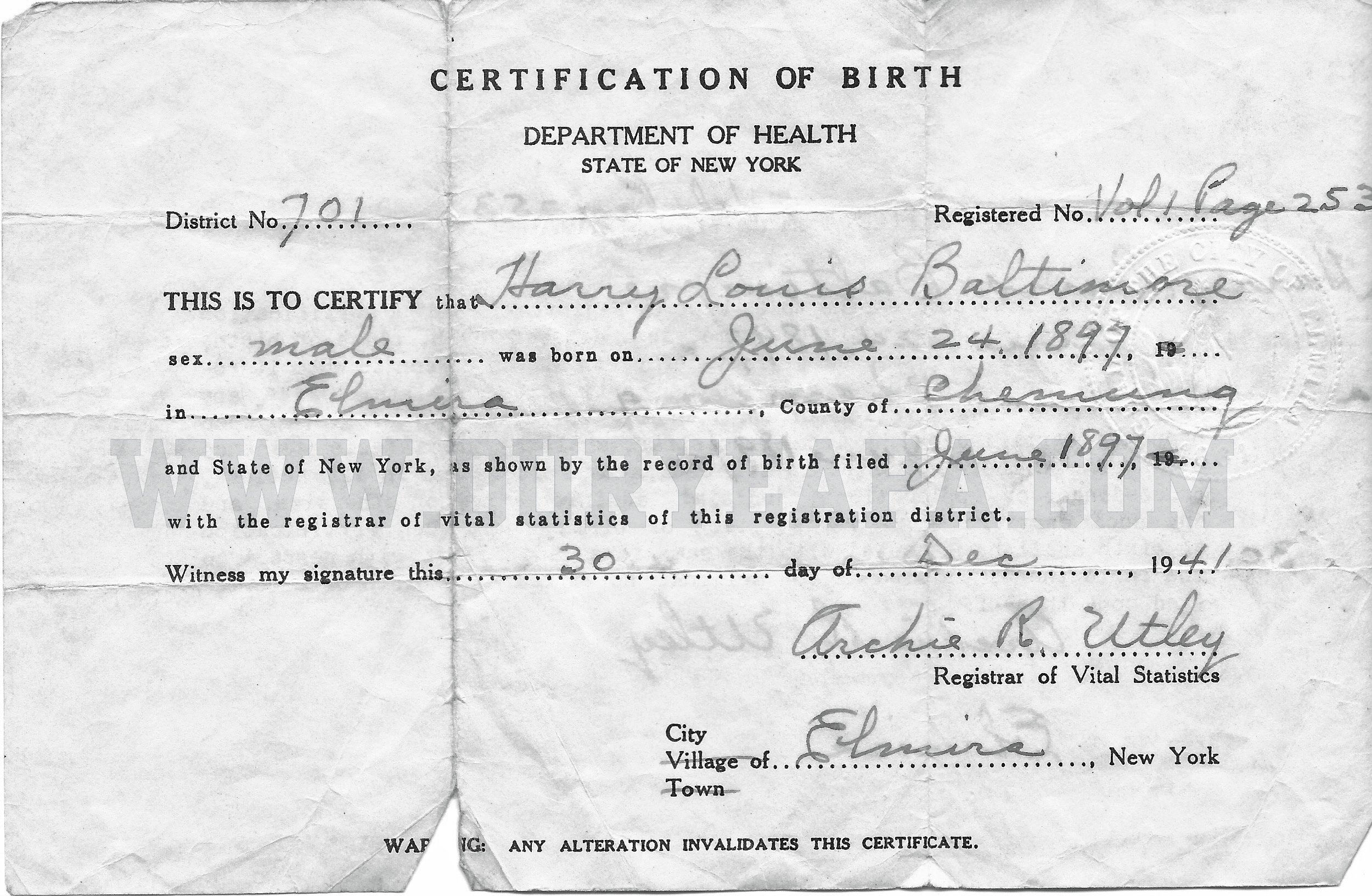 Duryea pennsylvania historical homepage 2012 1st update pa duryea 1897 baltimore harry louis birth certificate aiddatafo Images
