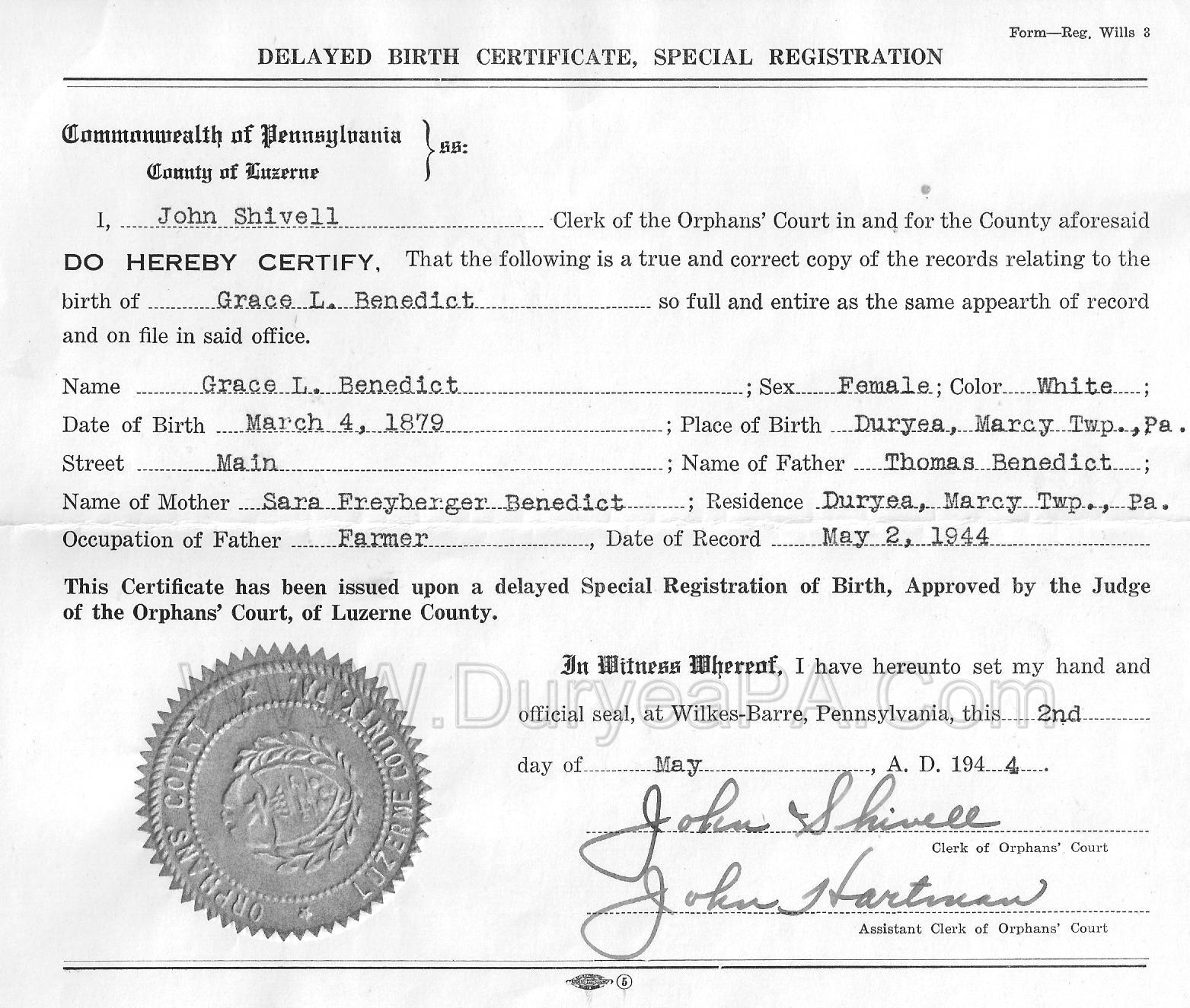 Duryea pennsylvania historical homepage pre1900s contents - General register office birth certificate ...