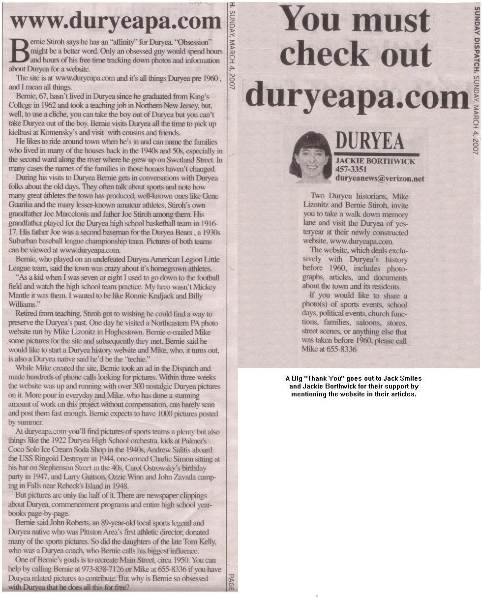 www.duryeapa.com Articles in Sunday Dispatch